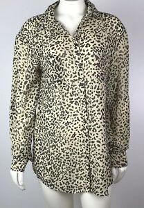 Kardashian-Kollection-Women-039-s-Blouse-Size-XS-Semi-Sheer-Animal-Leopard-Print-Top
