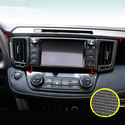 Chrome Front Air Condition Vent Outlet Cover Trim Frame For Toyota RAV4 2013-18