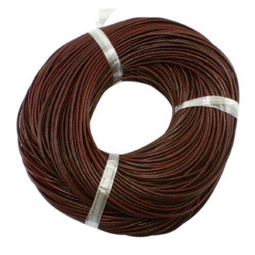 3mm Chocolate Brown AUTHENTIC 100/% LEATHER Cord 1M 2M 3M Thong Lace Round