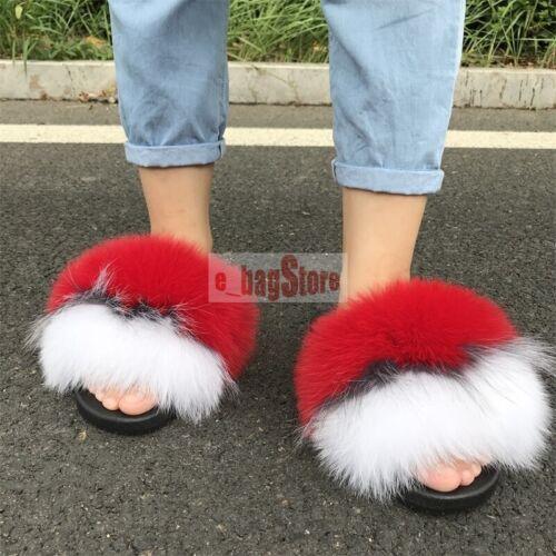 Femmes grosse fourrure renard véritable//raton laveur fourrure diapositives SLIPPER OUTDOOR plat Chaussures Sandales