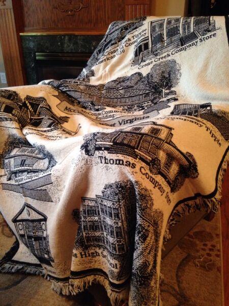 Gekwalificeerd Mccomas West Virginia Wv Coal Company Store Cotton Afghan Throw Blanket New Rare 100% Garantie