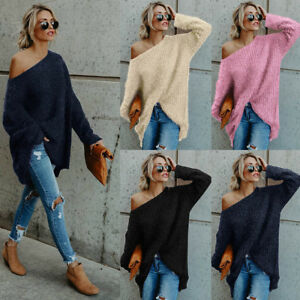 9e555d62ed34 Women Oversized Batwing Sleeve Knitted Sweater Tops Loose Cardigan ...