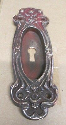 FANCY ANTIQUE VICTORIAN POLISHED BRASS/BRONZE FRENCH POCKET DOOR PLATE # 24