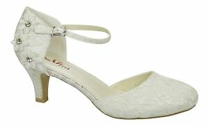 Image Is Loading Ivory Satin Amp Lace Low Heel Corsage Mary