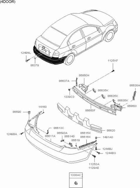 hyundai oem rear left bumper upper retainer bracket 866181e000 ebay Hyundai Accent Custom Parts