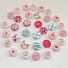 100Pcs/ 2 Holes Mixed Printing Round Pattern Wood Buttons Scrapbooking 15mm #AUH