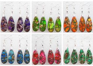 One-Pair-Sea-Sediment-Jasper-amp-Pyrite-Teardrop-Dangle-Earrings-Choose-Color