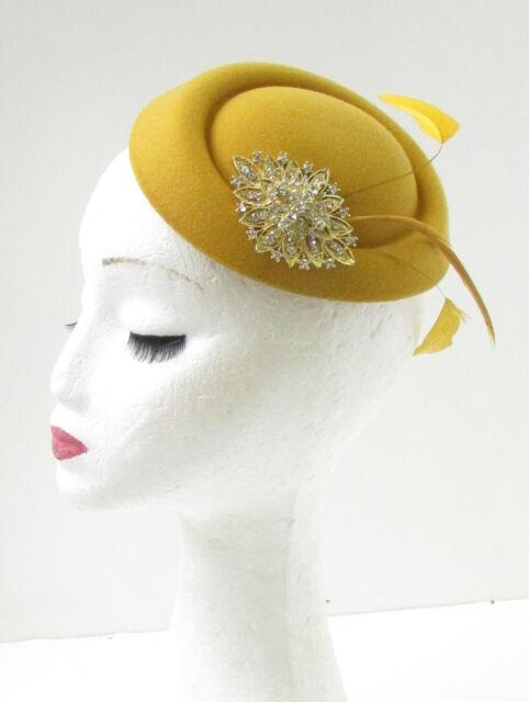 33b53491ac17b Mustard Gold Feather Pillbox Fascinator Hat Races Vintage Yellow Rhinestone  9ai for sale online