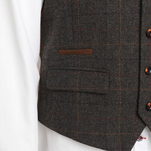 Harry Brown Wool Blend Brown Check Waistcoat 54832//0541