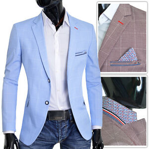 5d3dbe5ad Men's Blazer Light Baby Blue Brown Jacket Casual Formal Check ...