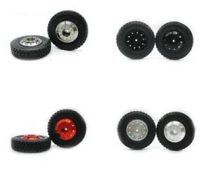 1-14-Front-aluminum-wheels-rim-Tires-set-2pcs-for-RC-Tamiya-1-14-Tractor-Truck