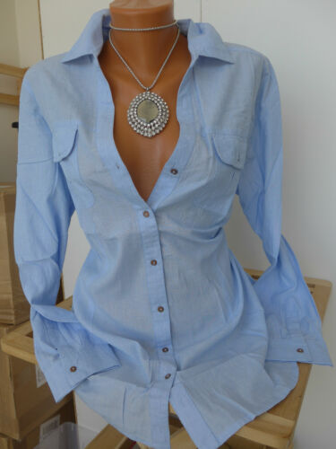 NEUF Sheego chemisier shirt manches longues taille 42-58 bleu son 638