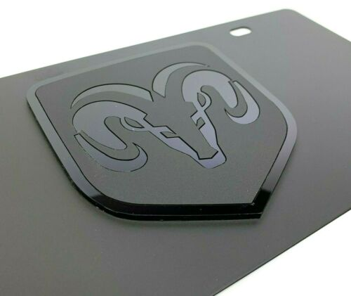 Grill Head Pickup Truck Dodge Ram Black Vanity License Plate Emblem Premium