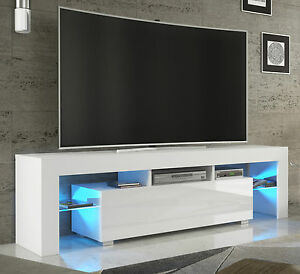 tv rack fernsehschrank lowboard hochglanz wei mit led rgb 130 ebay. Black Bedroom Furniture Sets. Home Design Ideas