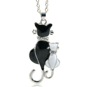 Fashion-Silver-Plated-Crystal-Cat-Pendant-Women-Girl-Chain-Necklace-Jewelry
