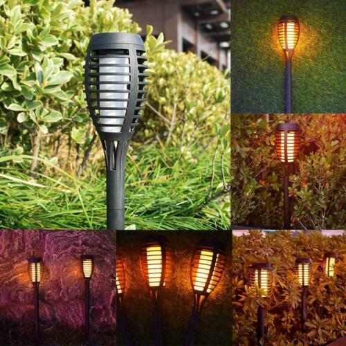 Solar Dancing Flame LED Torch Stake Flickering Outdoor Garden Set of Lights P4S6