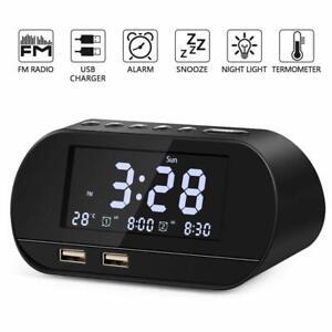 Reveil-numerique-affichage-DEL-Radio-FM-Avec-Chargeur-USB-Ports-amp-Batterie-secours