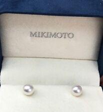 MIKIMOTO Pearl 7.3 mm 18kt Yellow Gold Stud Earrings O41