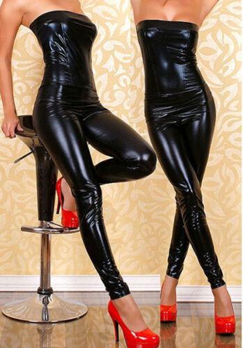 Damen Bandeau Overall Jumpsuit Bodysuit Playsuit Wet Lederlook Party Clubwear