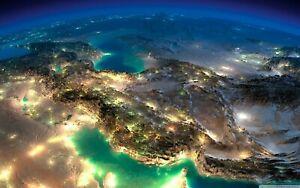 Plaque métal   vue satellite terre   30 X 20 CM