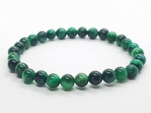Green Tigers Eye Bracelet Round Beads Gemstone Healing Stones Yoga Chakra Reiki