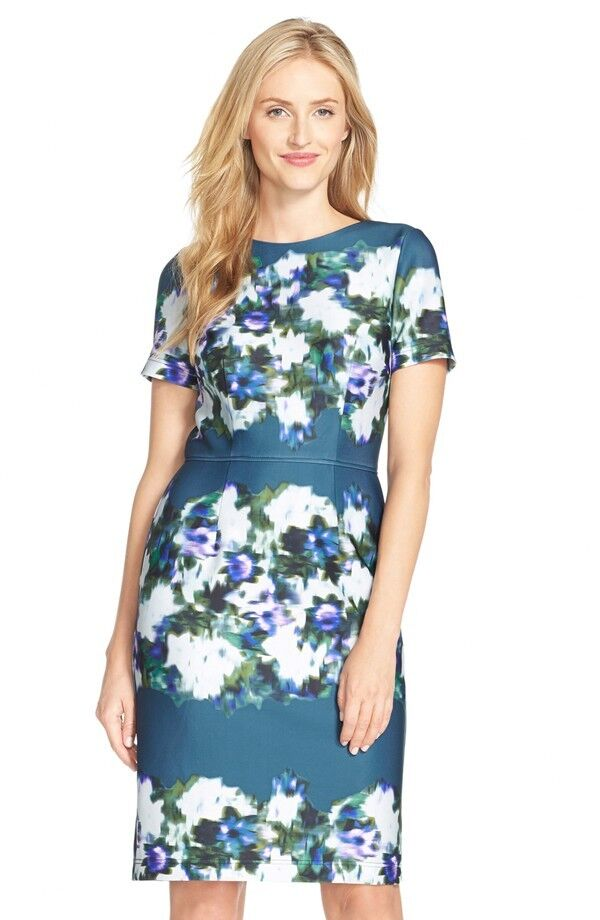 Adrianna Papell Print Scuba Sheath Dress ( Size 6)