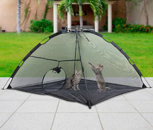 ... Foldable-Outdoor-Pet-Tent-Dog-Cat-C&ing-Mesh- & Foldable Outdoor Pet Tent Dog Cat Camping Mesh Enclosure Pop up ...