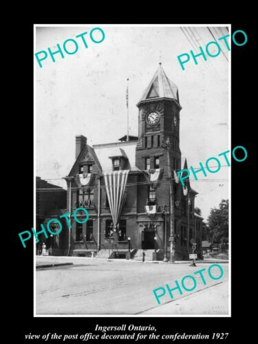 OLD 8x6 HISTORIC PHOTO OF INGERSOLL ONTARIO CANADA, THE POST OFFICE 1927