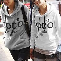 Women Hoodie COCO print Jacket Coat Sweatshirt Hooded Outerwear Tops Pullover OY
