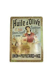 Insegna-034-Huile-d-039-Olive-Union-des-proprietaires-de-Nice-034-Riedizione1980-039-s-Latta