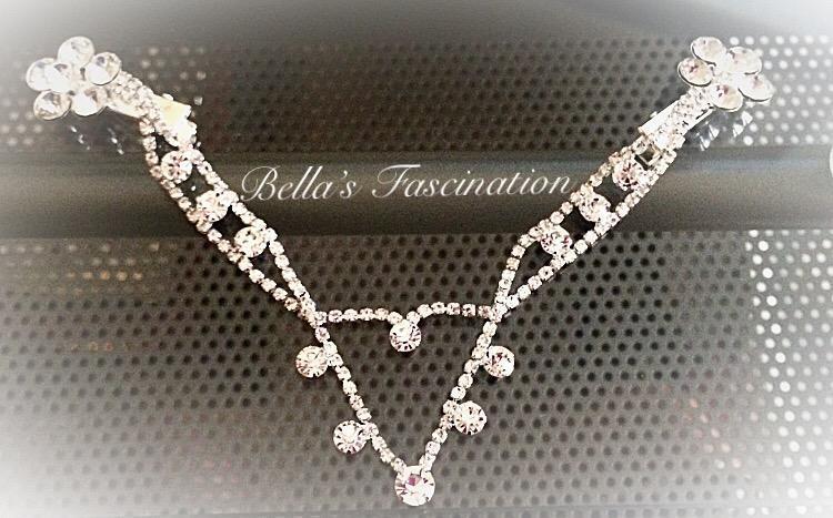 Gorgeous Bridal Headpiece Crystal Rhinestone Silver Dangle Clip In Flower