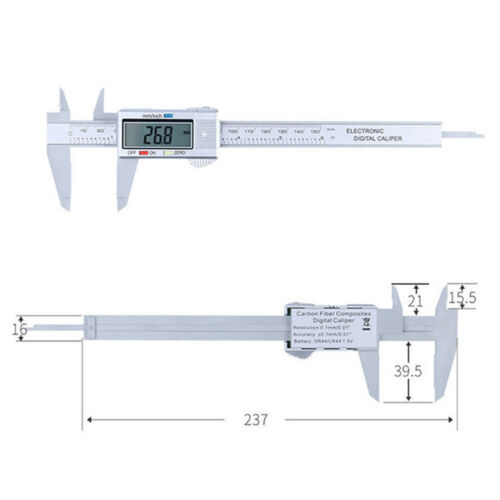 Electronic Digital LCD Scale Gauge 150mm 15.2cm Stainless Steel Ruler