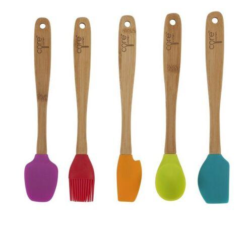 """Crete Core Kitchen 8.25/"""" 5pc Silicone Mini Utensil Set with Bamboo Handles"""