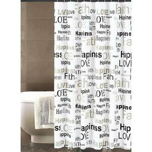 Image Is Loading Shower Curtain Black White Word Sentiments Happiness Love