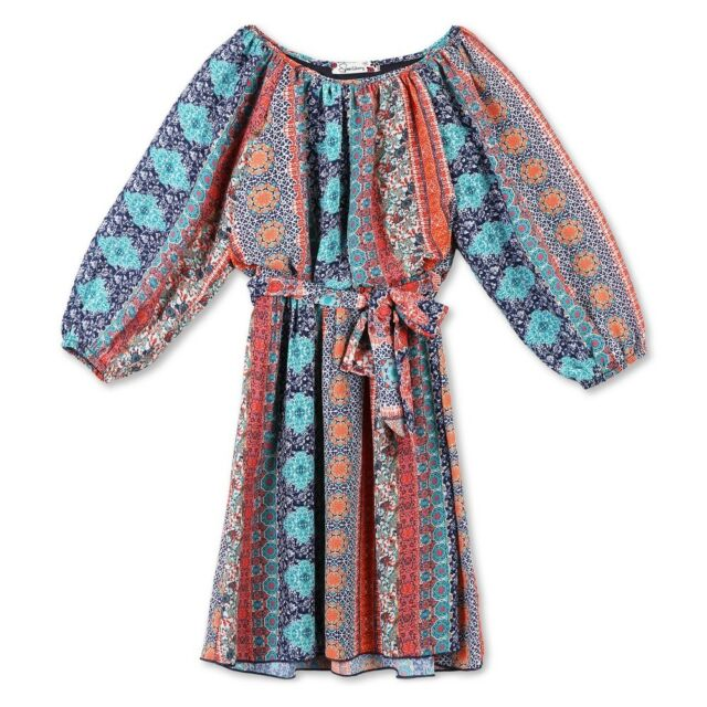 Girls/' Lots of Love by Speechless Aqua Navy Cheetah A Line Dress 14 16 8 12