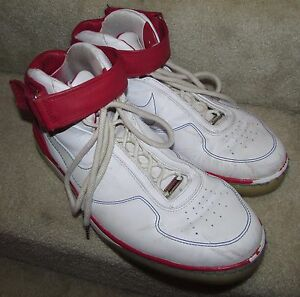 promo code 7ce38 2219f Details about Nike Air Force 25 Men's Leather Basketball Shoes 315015-111  US Size 14 White Red