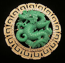 "Rare Vtg 3"" Signed Hattie Carnegie Goldtone Asian Dragon Figural Brooch Pin A6"