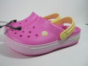 c97808f628499a Crocs CROCBAND CLOG Kids Girls Pink Slip On Sandals C12-13 J1 J2