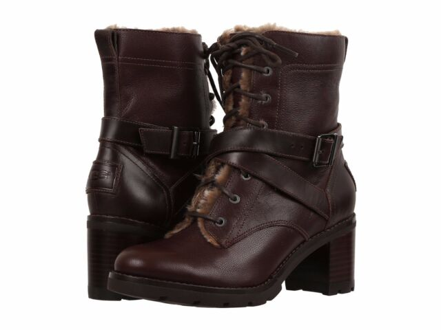 02f3a67dc1 UGG Australia Ingrid Stout Brown Women Leather Lined Heel BOOTS Size 8 8