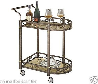 Tea Serving Bar Cart on Wheels & Glass shelves Antique Style Metal kitchen  Cart | eBay