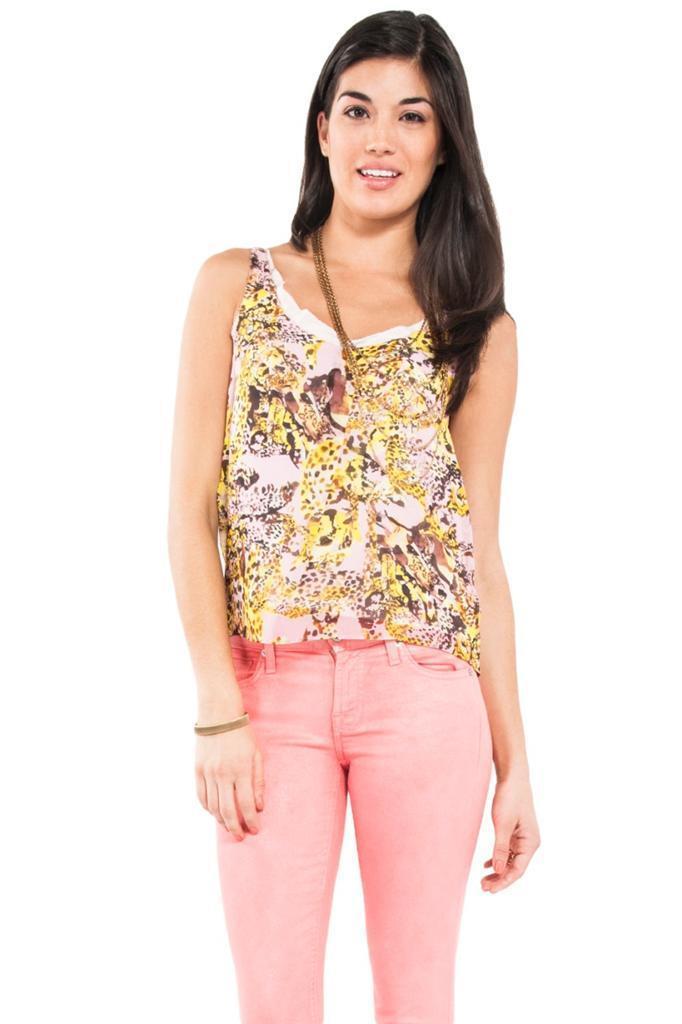 Rebecca Minkoff Weiß Tank Top Sleeveless Rosa Tiger Print 100% Silk NEW