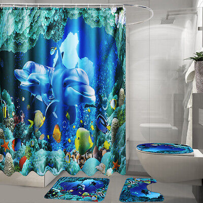 US Undersea Deep Sea Dolphin Bathroom Shower Curtain Rug Bath Mat Toilet
