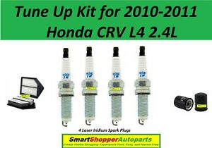 Tune Up Kit Cabin Air Oil Filters Spark Plugs for Honda CR-V 2.4L 2002 2006