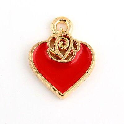 10pcs Gold Heart Flower Beads Charms Enamel Pendant Fit DIY Bracelet Findings