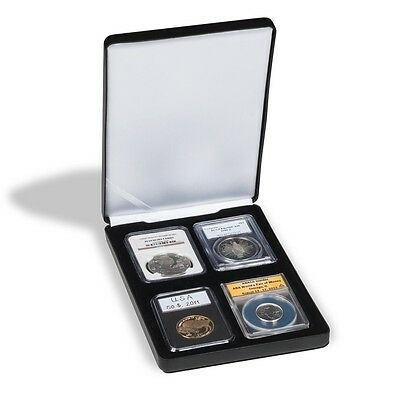 Black Leatherette Coin Box For 5 Graded Slabs PCGS NGC ICG Everslab Gift Case US