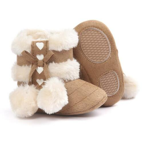 US Newborn Baby Girls Soft Booties Winter Snow Boots Bowknot Sole Shoes 0-18M KV