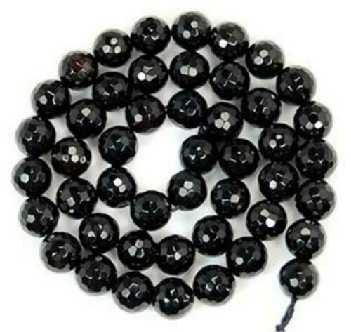 6mm Natural facted black agate round loose beads 15/'/'##281