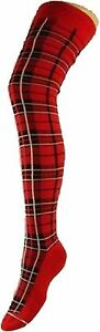LADIES-OVER-THE-KNEE-TARTAN-SOCKS-THIGH-HIGH-SCOTTISH-BURNS-NIGHT-RED-HEN-PARTY