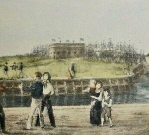 Farbradierung-von-Bremerhaven-PANORAMA-ANSICHT-UM-1850-oder-aehnlich