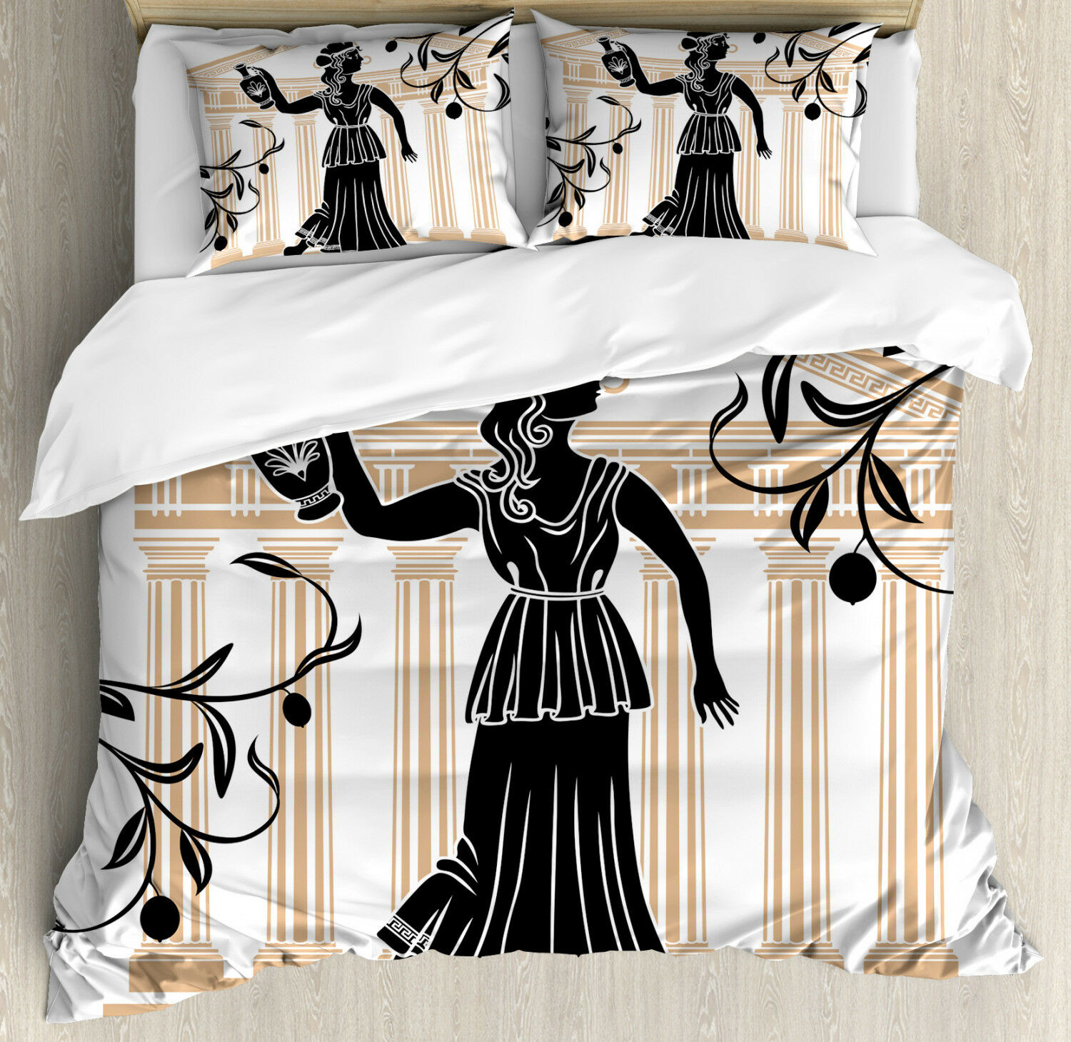 Toga Party Duvet Cover Set with Pillow Shams Greek Woman Amphora Print